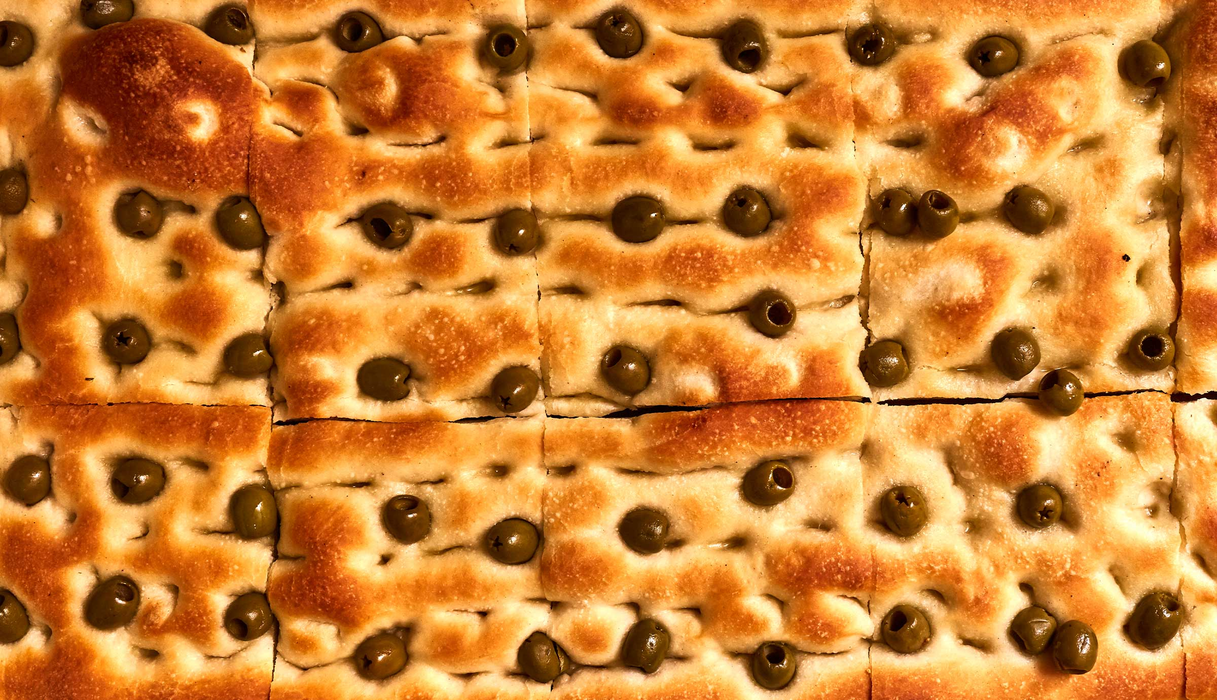 Baked focaccia with olives